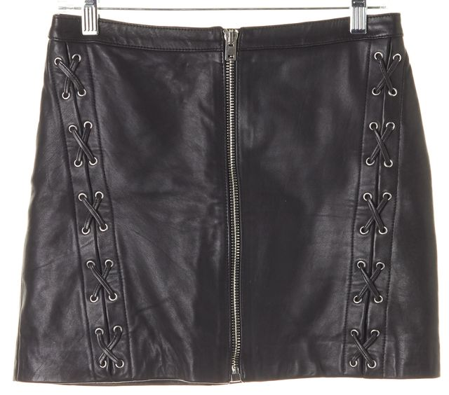 THE KOOPLES Black Leather Lace-Up Above Knee Straight Skirt