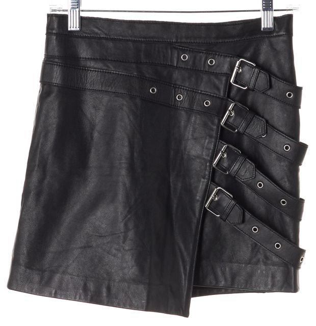 THE KOOPLES Black Leather Buckle Detailed Mini Asymmetrical Skirt