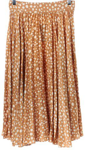 TUCKER Brown Ivory Polka Dot Silk Peasant Skirt