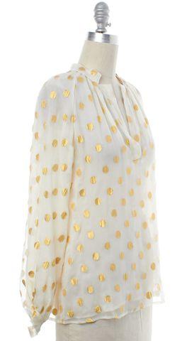TUCKER Ivory Gold Polka Dot Sheer Silk Blouse