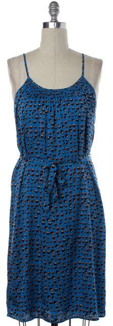 TUCKER Blue Black Print Silk Shift Dress