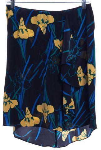 TUCKER Black Multicolor Floral Print Silk Asymmetrical Skirt