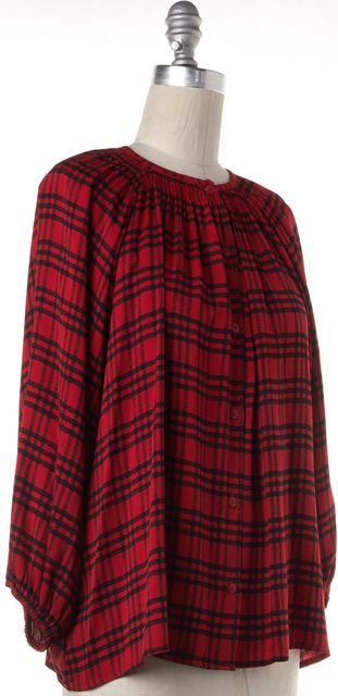 TUCKER Red Black Plaid Silk Button Down Shirt Top