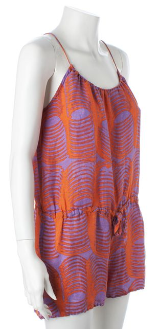 TUCKER Orange Purple Abstract Silk Linen Spaghetti Strap Romper