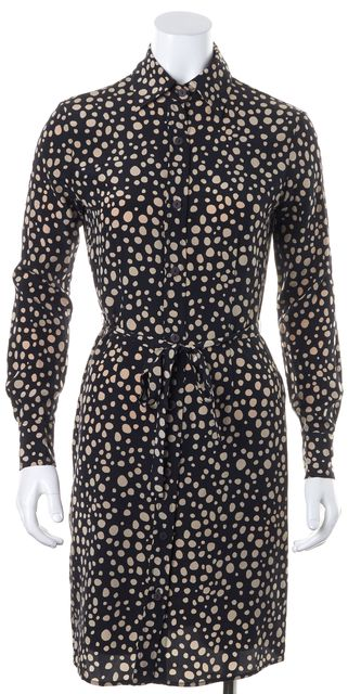 TUCKER Black Beige Silk Polka Dot Print Waist Tie Long Sleeve Shirt Dress