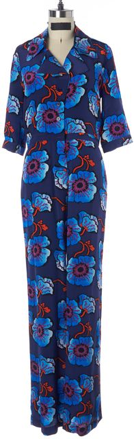 TUCKER Blue Floral Printed Silk Short Sleeve Button Down Jumpsuit