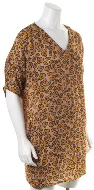 TUCKER Brown Leopard Print Crepe Silk Short Sleeve Long Blouse