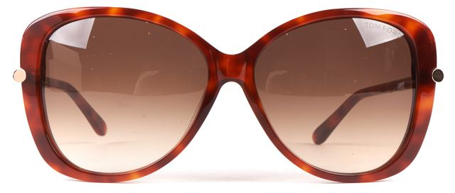 TOM FORD Brown Tortoise Acetate Frame Gradient Lens Linda Oversized Sunglasses