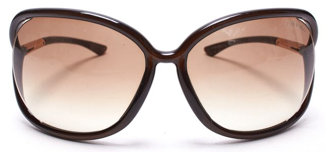 TOM FORD Brown Acetate Frame Oversized Square Sunglasses with Case
