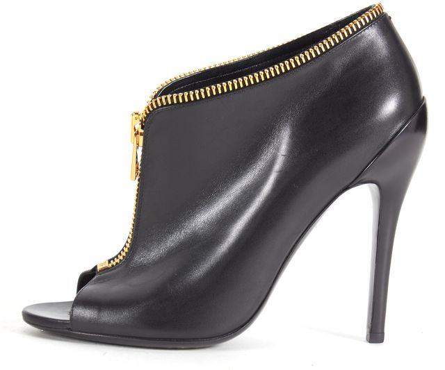 TOM FORD Black Leather Gold Zipper Embellishment Open Toe Ankle Boots