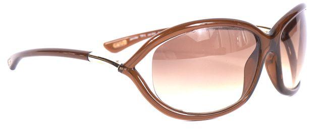 TOM FORD Brown Acetate Frame Gradient Lens Jennifer Oval Sunglasses