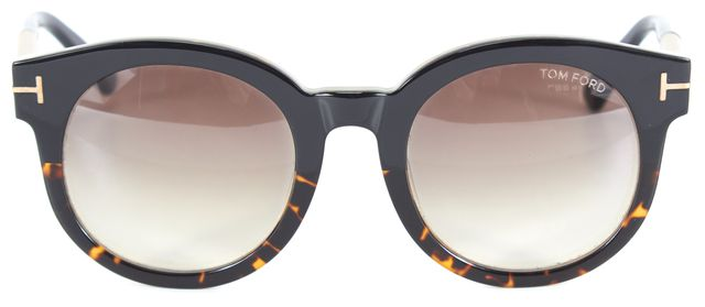 TOM FORD Shiny Black Havana Acetate Janina Round Sunglasses w/ Case