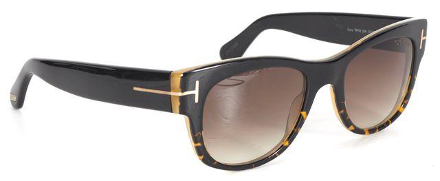TOM FORD Black Tortoiseshell Acetate Gradient Lens Cary Square Sunglasses