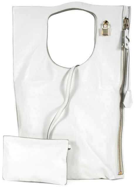 TOM FORD White Leather Alix Fold Over Convertible Shoulder Bag