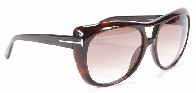TOM FORD Brown Round Sunglasses w/ Case & Cleaning Cloth