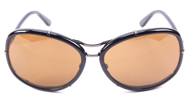 TOM FORD Black Brown Lens Round Sunglasses
