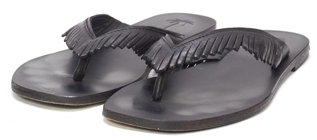 TOMAS MAIER Black Leather Fringe Flip Flop Sandals