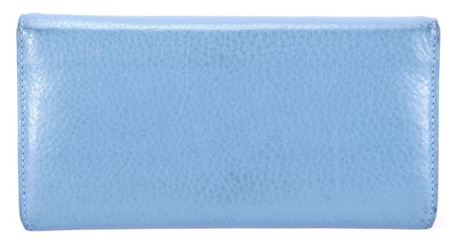 TOMAS MAIER Light Blue Pebbled Leather Continental Palm Tree Detail Wallet