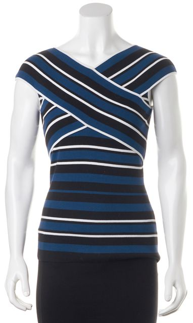 TIMO WEILAND Blue White Striped Stretch Knit Top