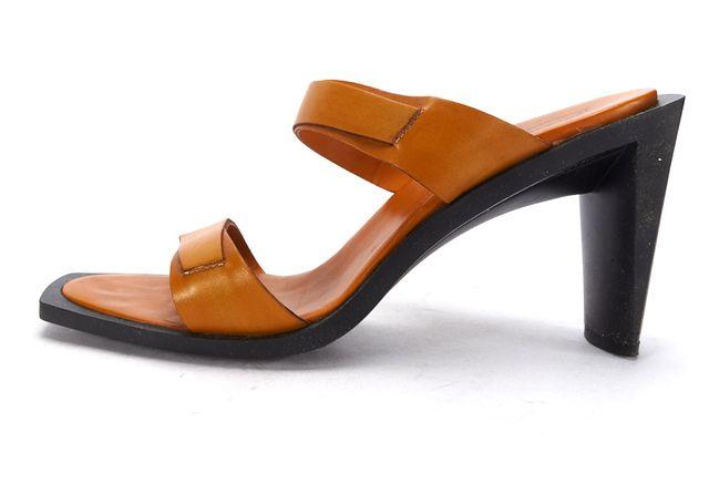 TOD'S Orange Leather Open Toe Mule Heels