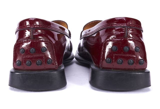 TOD'S Red Patent Leather Penny Loafer Flats
