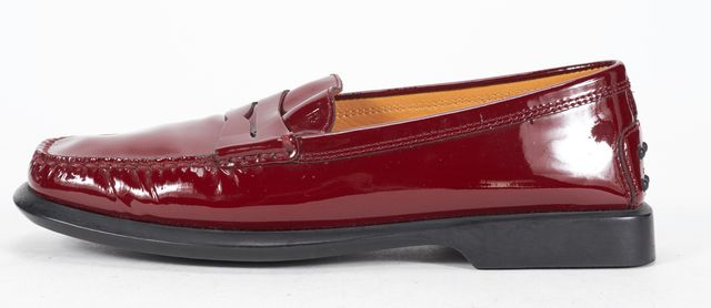 TOD'S Red Patent Leather Square Toe Slide On Loafers