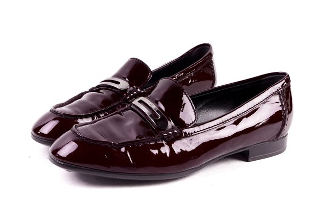 TOD'S Burgundy Red Patent Leather Loafers