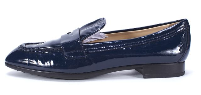 TOD'S Navy Blue Patent Leather Penny Loafers Size 37