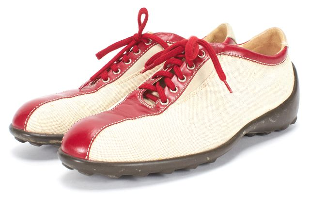 TOD'S Beige Red Canvas Lace Up Sneakers