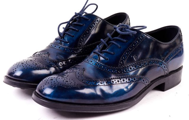 TOD'S Blue Patent Leather Wingtip Brogue Oxfords