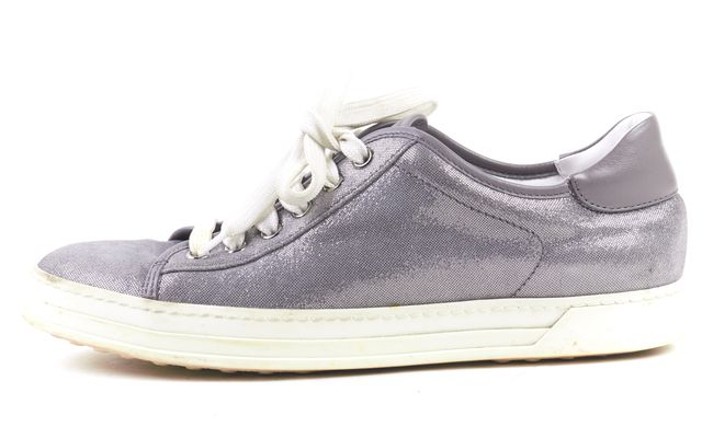 TOD'S Silver Suede Lace Up Sneakers