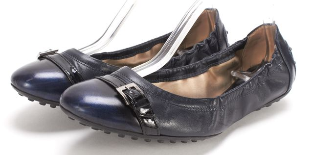 TOD'S Navy Blue Leather Driving Loafer Flats