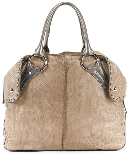 TOD'S Brown Snake Embossed Leather Shoulder Bag