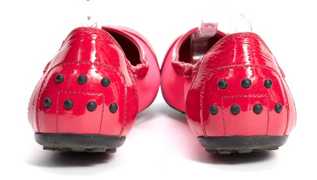TOD'S Pink Black Red Fabric Patent Leather Trim Elastic Ballet Flat
