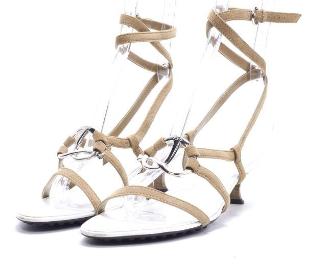 TOD'S Beige White Strappy Sandals