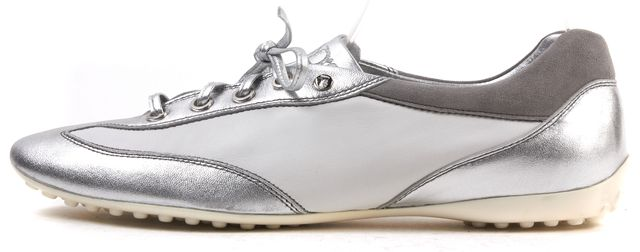 TOD'S White Silver Leather Sneakers
