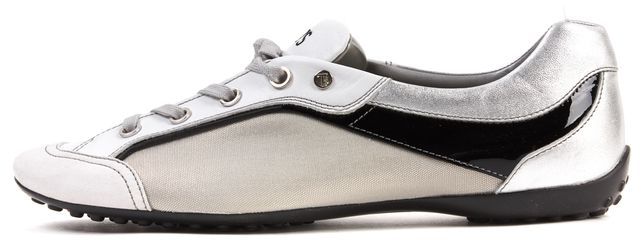 TOD'S Silver Black White Silver Leather Canvas Sneakers