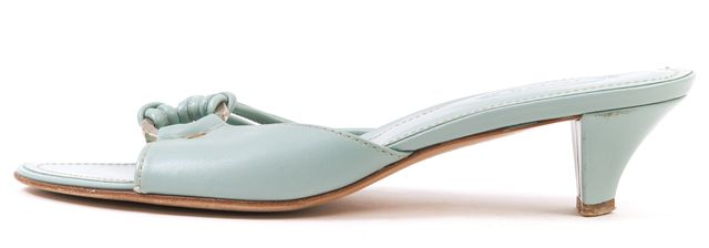 TOD'S Blue Leather Strappy Slide-On Sandal Kitten Heels