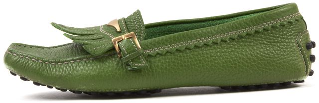 TOD'S Green Pebbled Leather Driving Loafer