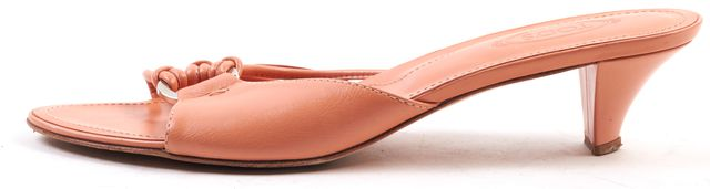 TOD'S Orange Leather Slide-On Kitten Heel
