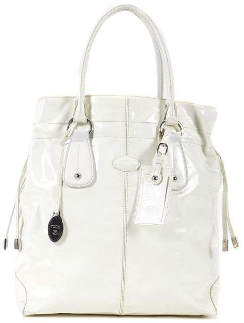 TOD'S White Patent Leather Shoulder Bag