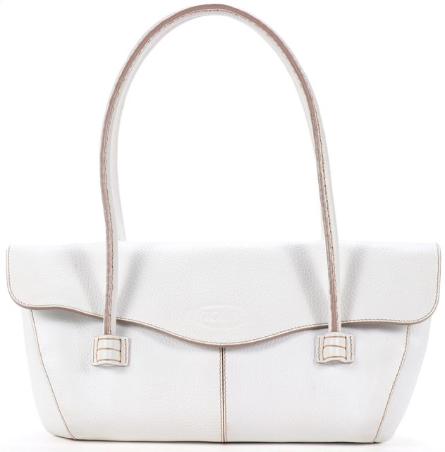 TOD'S White Pebbled Leather Shoulder Bag