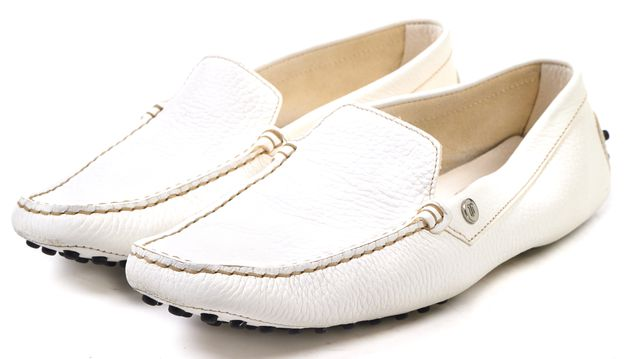TOD'S White Pebbled Leather Loafers