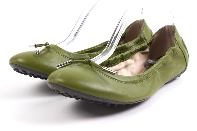 TOD'S Green Leather Ballet Flats