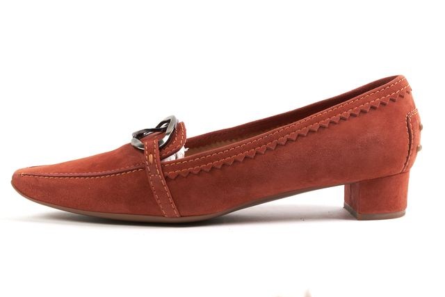 TOD'S Orange Suede Pointed Toe Pewter Buckle Embellished Loafers
