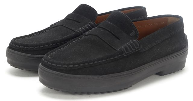 TOD'S Black Suede Winter City Gommino Penny Loafer