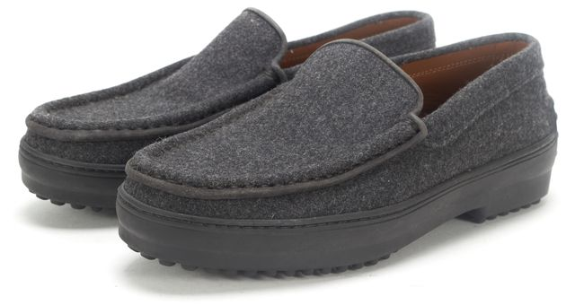 TOD'S Charcoal Felt Gommino Driving Loafer