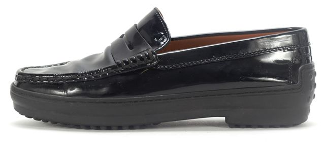 TOD'S Black Patent Leather Gommino Penny Loafer