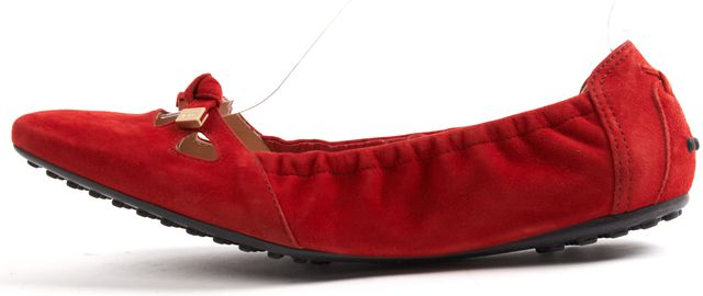 TOD'S Red Nubuck Suede Ballet With Bow Flats