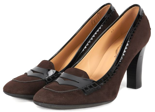 TOD'S Brown Suede Loafer Style Pumps